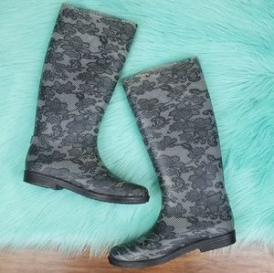 Bamboo Floral Lace Pattern Tall Rain Boots